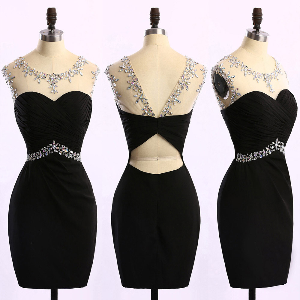 dceadf94808 Short Black Prom Dress with Ruching Detail