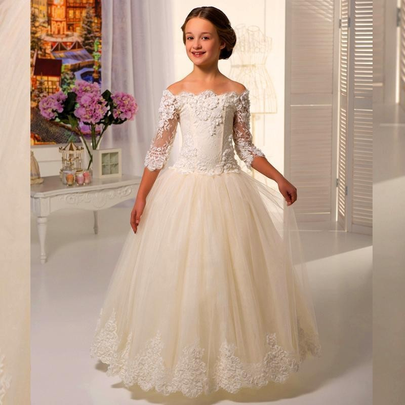 dcdaf1541a92 Ivory Lace Flowergirls Flower Girl Dresses for Weddings First Communion  Dresses for Girls Tulle Ball Gowns