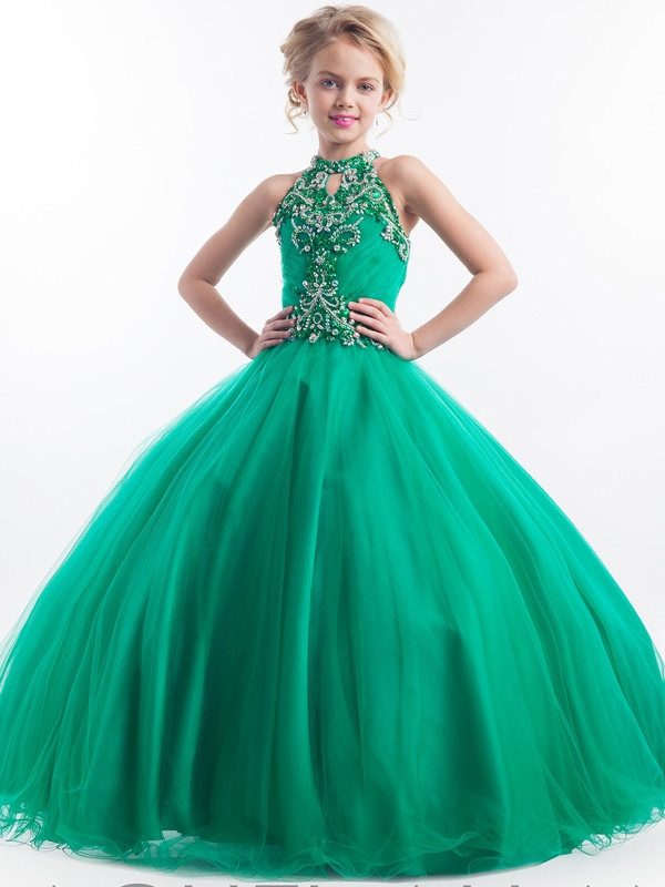 Halter Embellished Crystal Beads Girls Ball Gown Pageant Dresses ...