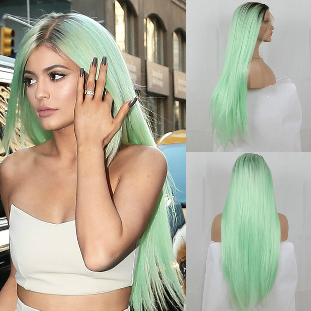 Mint Green Ombre Straight Synthetic Lace Front Wig-edw1100 |Mint Hair Wig
