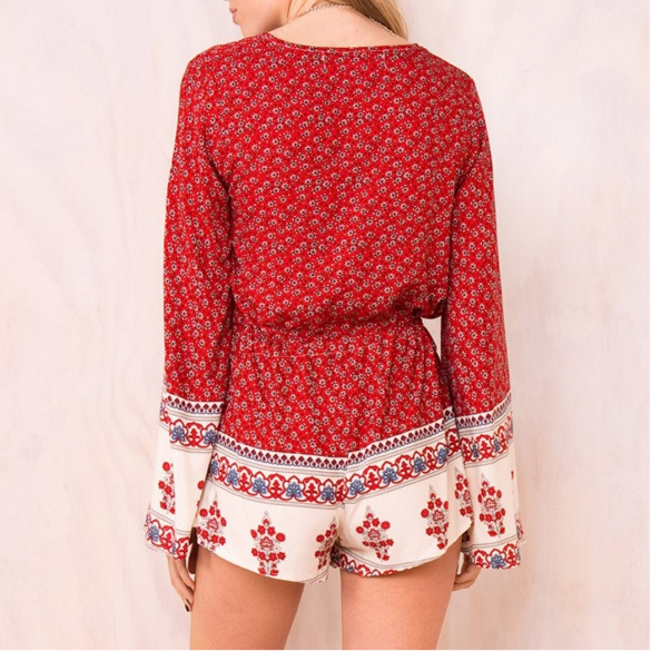 fa01a2c269c FREE SHIPPING  Deep V-Neck Floral Long Sleeve Jumpsuit Romper - Thumbnail 1  ...