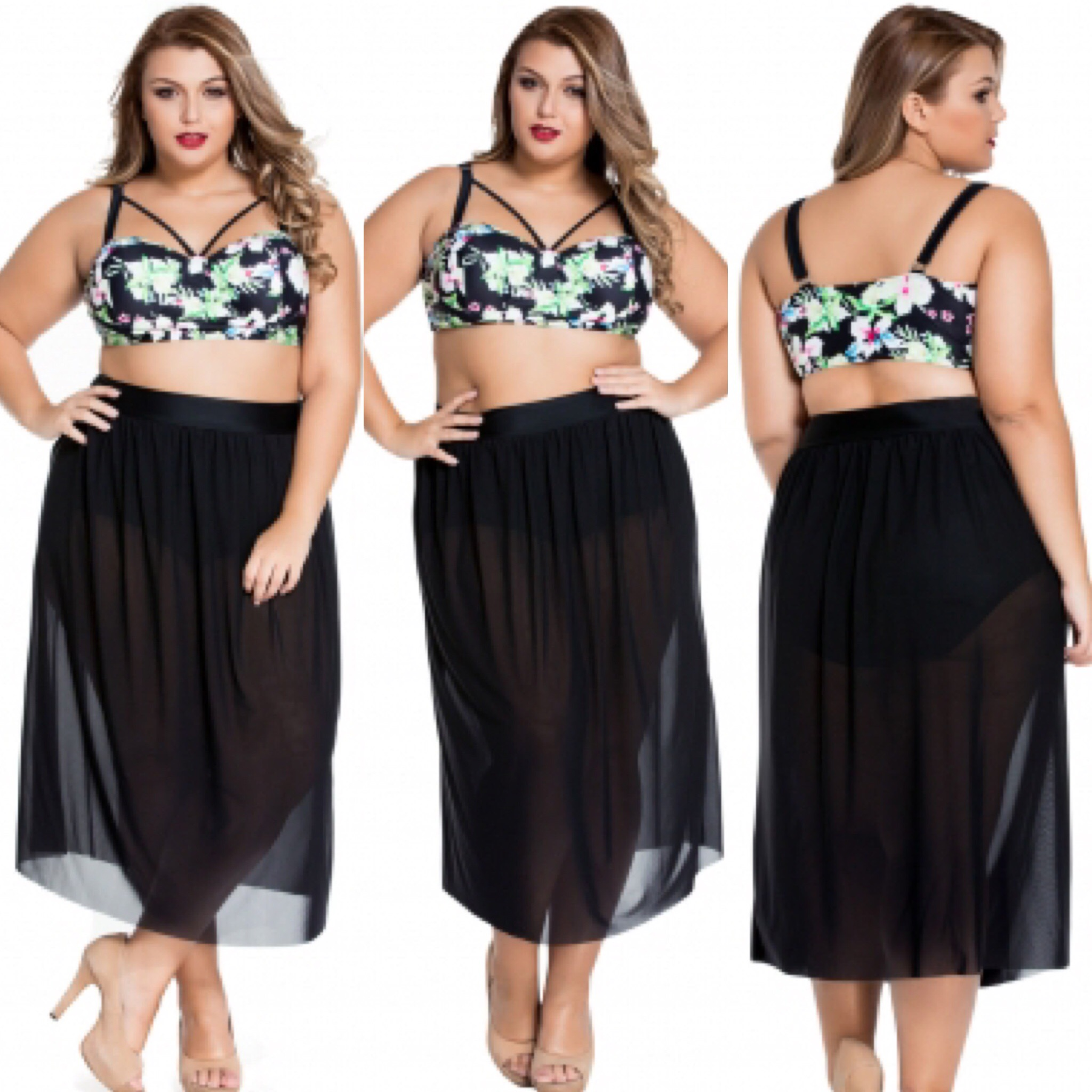 cda12cbb970 Plus Size Swim Suit With Cover Up Skirt on Storenvy