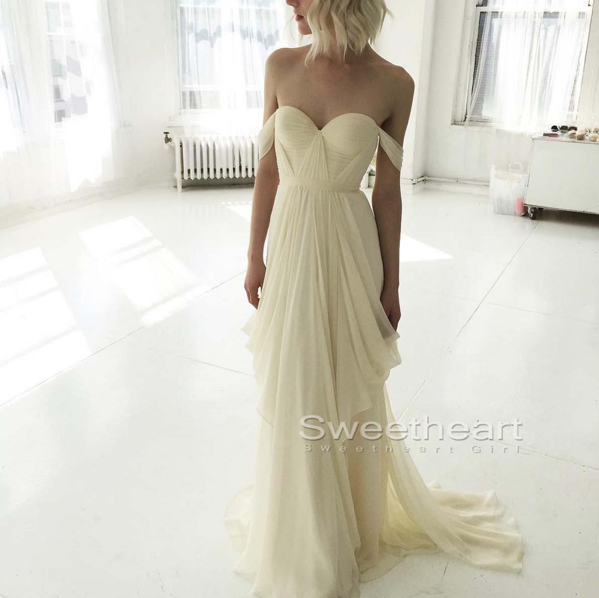 Simple Wedding Dress Hong Kong: Simple A-line Light Yellow Long Prom