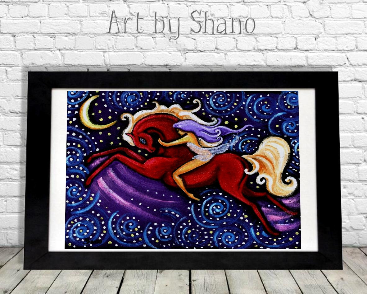 Boho Home Decor Colorful Horse Print Fashion Illustration Whimsical Art Print Woman And Horse Horse Giclee Unique Horse Art Shano Sold By Art By Shano On Storenvy