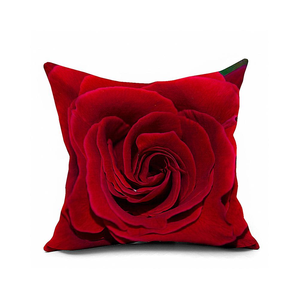 Cojines Sofa Online.Hot Red Roses Cotton Linen Home Decorative Fundas De Cojines