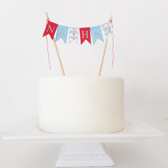1st Birthday Cake Topper Bunting Baseball Birthday Cake Topper