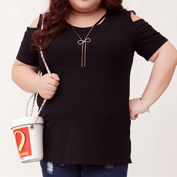 cee3ca7af79 ... XL-4XL Gray Black Pink Plus Size Shoulder Off T-Shirt SP166561 ...