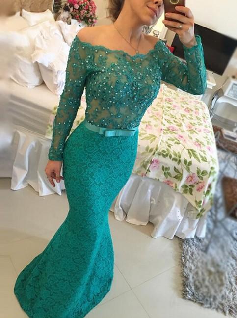 Long Sleeve Prom Dresses Mermaid Lace Prom Dresses Evening
