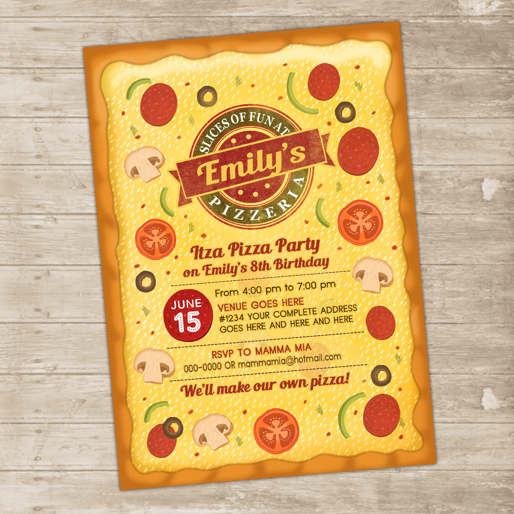 pizza party invitation pizzeria invite italian toppings invitations