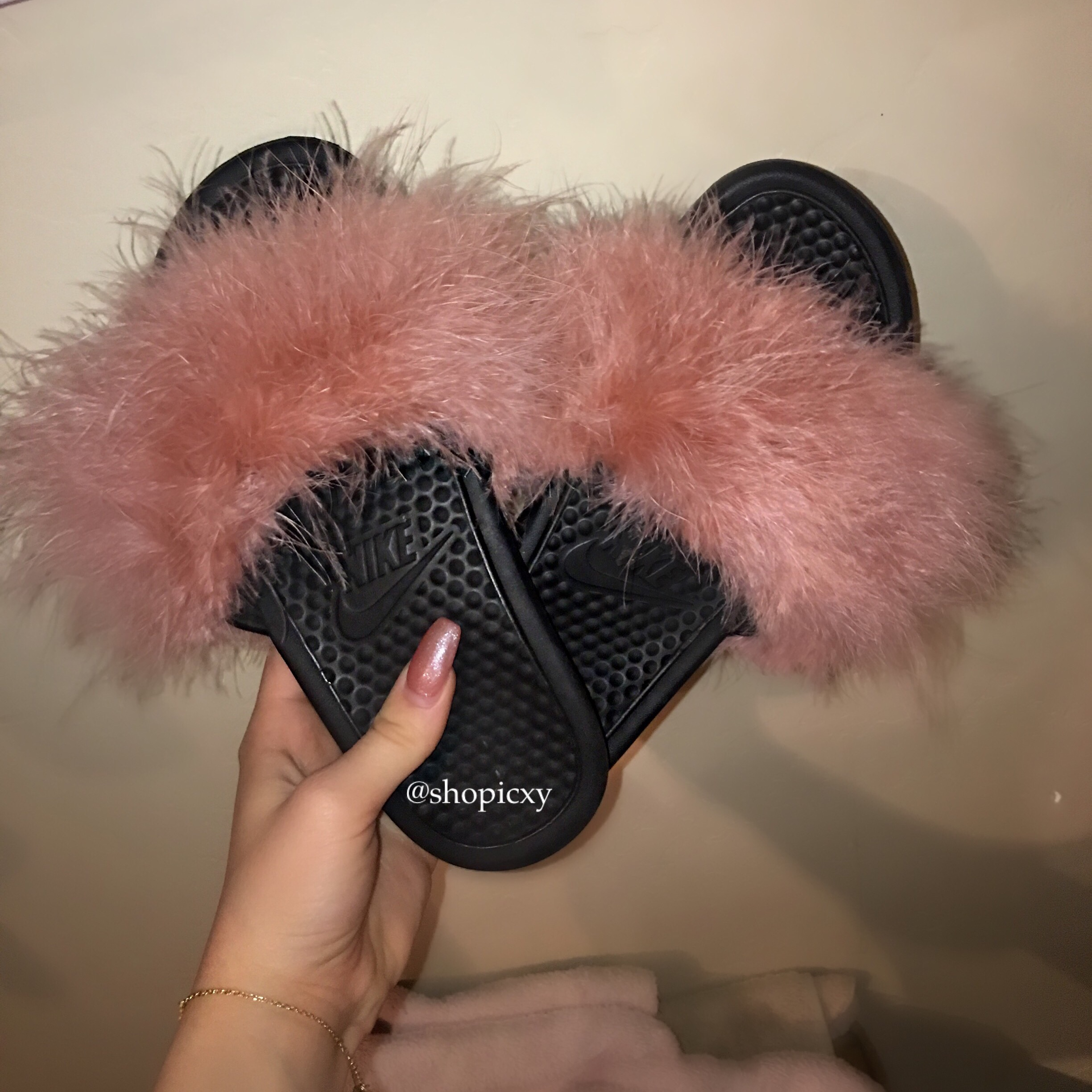 97c77eb8dd3e Black Nike Custom Fur Slides on Storenvy
