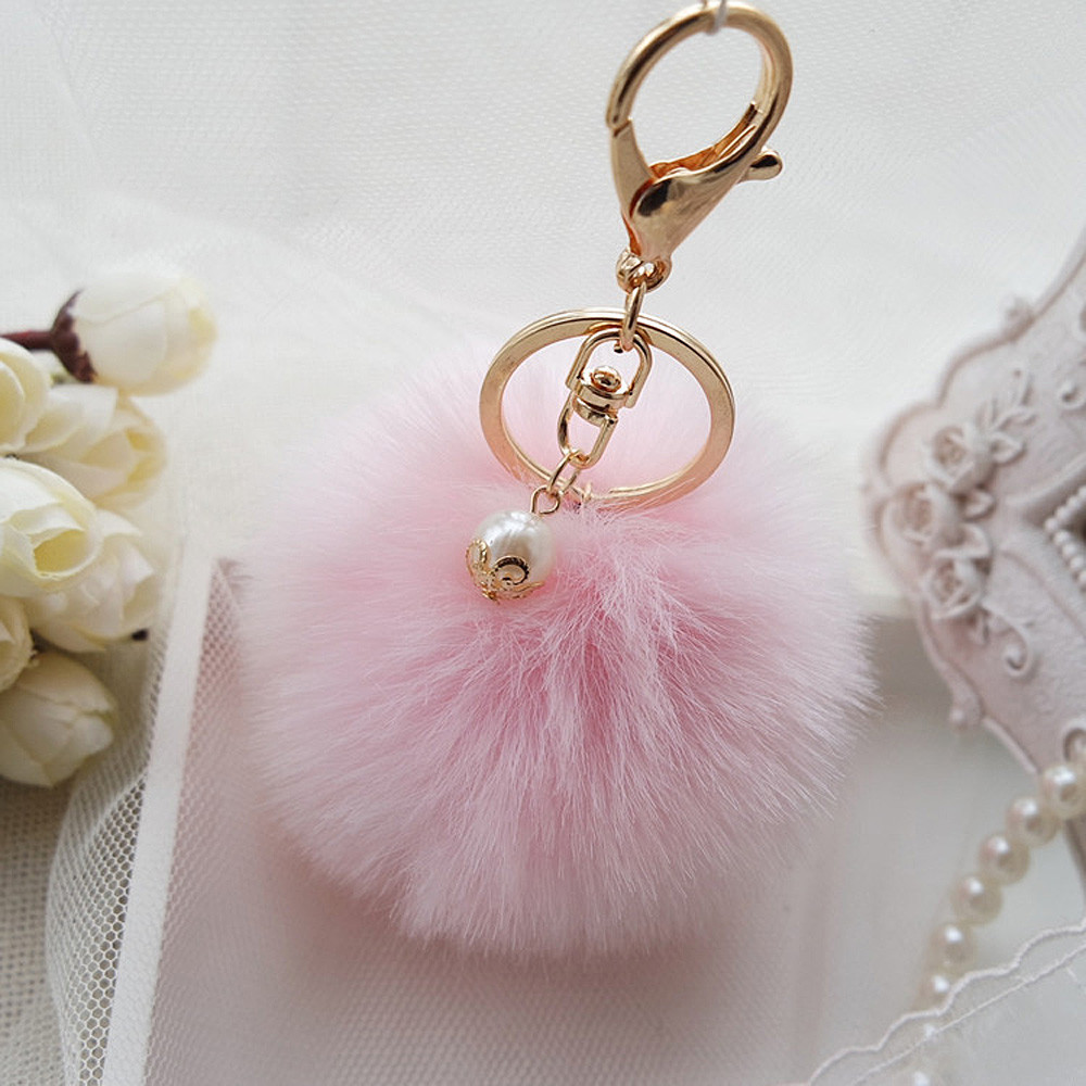 Faux Fur Ball Keychain with Pearl on Storenvy fde0f04bb