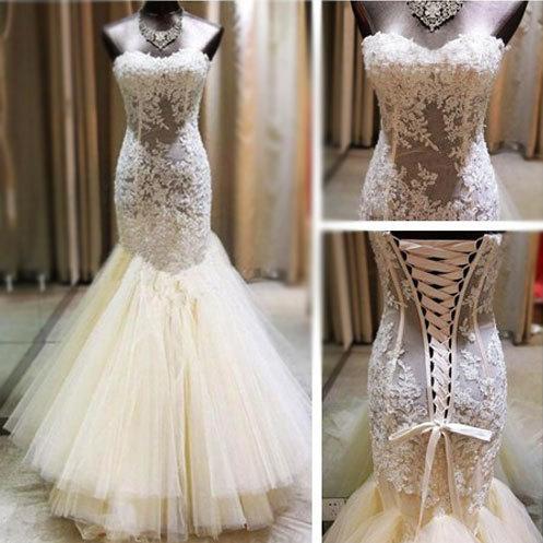 Wedding Dressbridal Gownlace Wedding Dressmermaid Wedding Dress