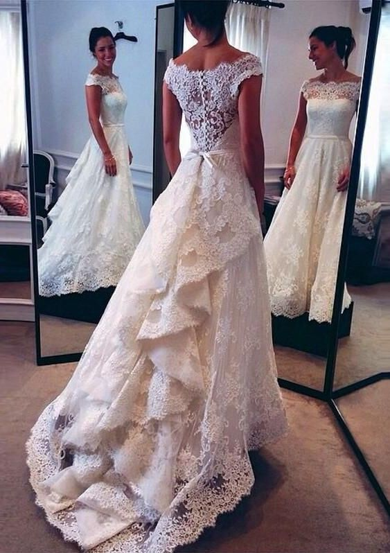 Wedding Dresslace Wedding Dressoff Shoulder Wedding Dresschic Style Wedding Dressbridal Gownpd190026 From Focusdress