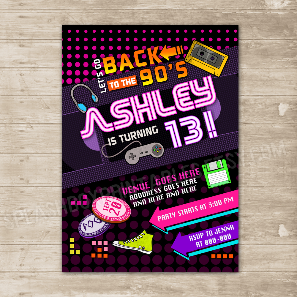 Back to the 90\'s invitation Nineties party invite Flashback ...