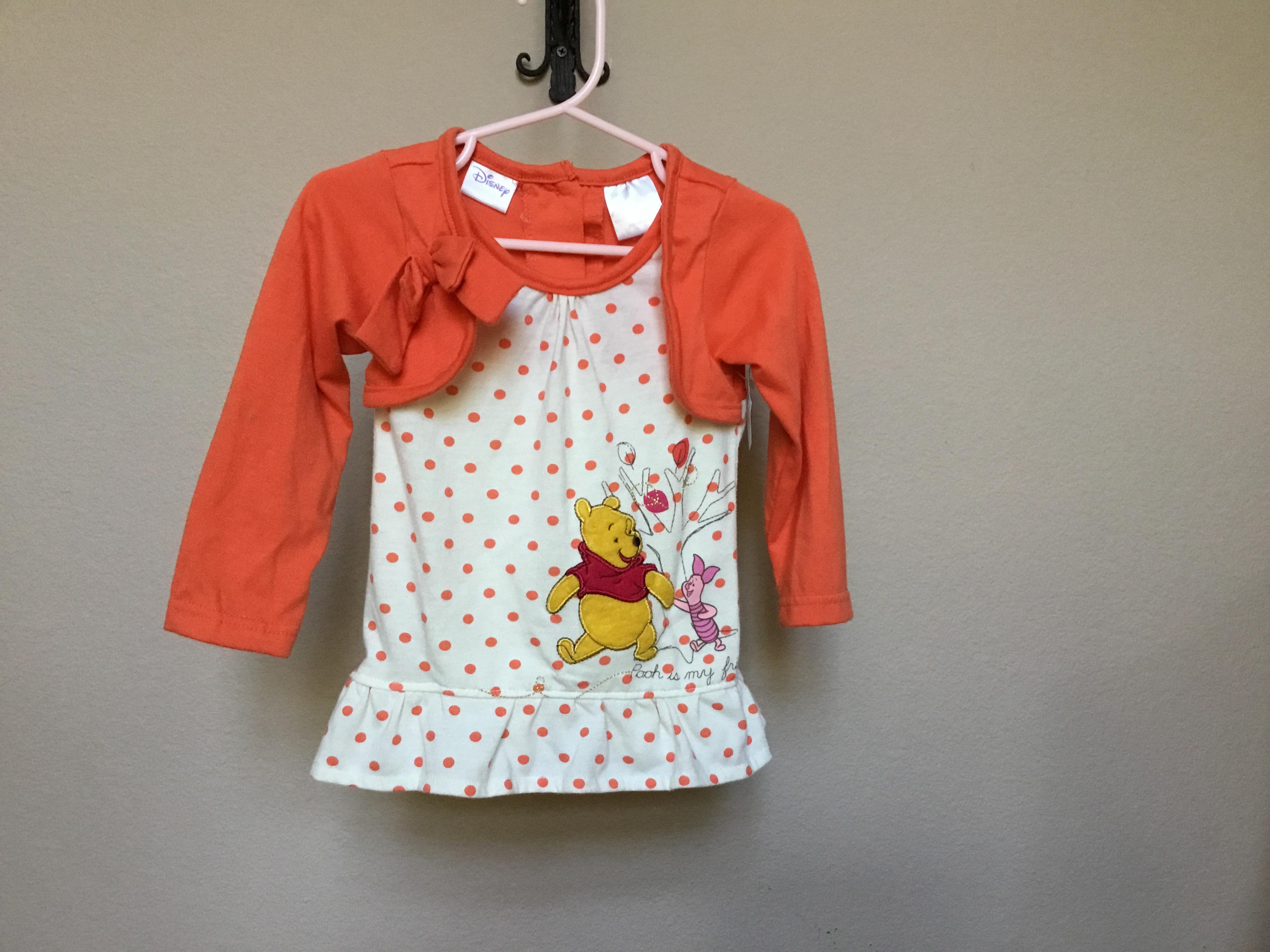 095fd7ae7a76 2T Disney Winnie The Pooh with Piglet Pooh is my friend Beige with Orange  Polka DotsDress