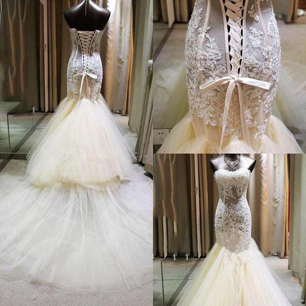 Tulle Wedding Dressmermaid Wedding Dresslace Up Back Wedding Dress