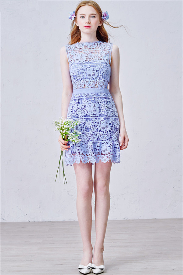 Lavender Short Lace Homecoming Dress ,2017 Summer Party Dress for ...