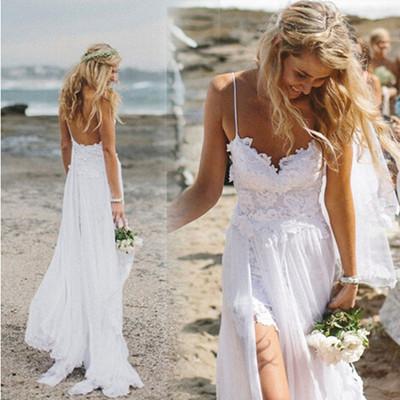 Spaghetti Straps Sexy Beach Wedding Dresses Long Wedding Dresses Backless Wedding Dresses On Sale W10