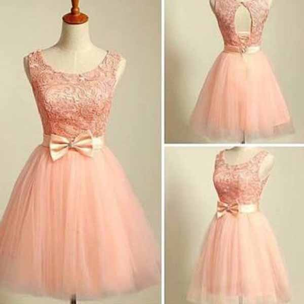 modest prom dresses,Pearl Pink A-line Scoop Short Mini Tulle ...