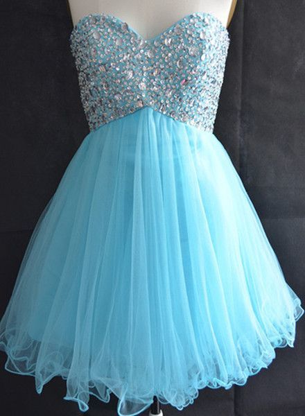 Blue Homecoming Dress Tulle Homecoming Dresses Sparkly