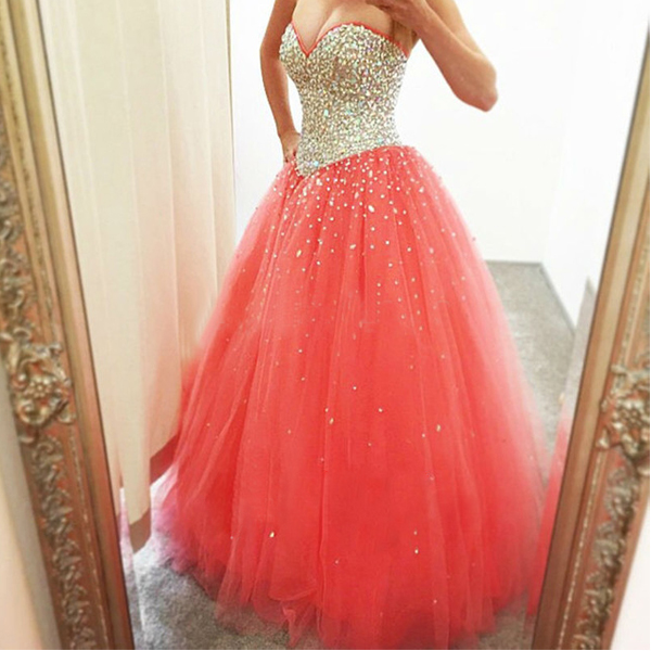 7ed856a84c Sweetheart Lace-up Long Prom Dress Prom Gown Evening Dress BG15