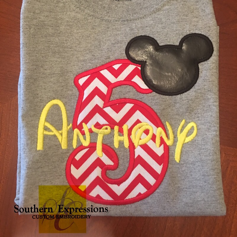 Mickey Mouse Birthday Applique T Shirt 1234567 Disney Boys Infant Toddler Gray Short Sleeve On Storenvy