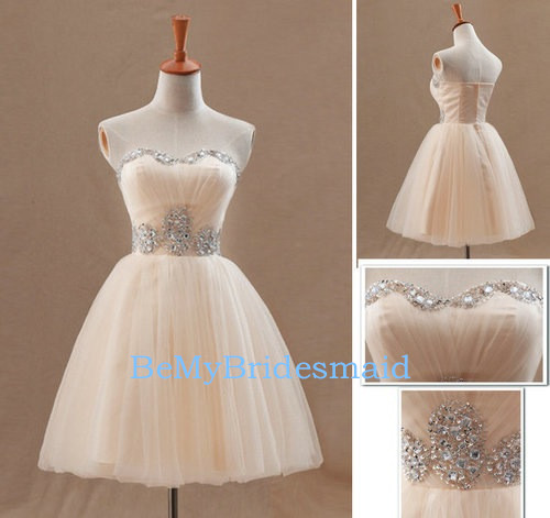 Lovely Champagne Short Tulle Sweetheart Prom Dresses Homecoming