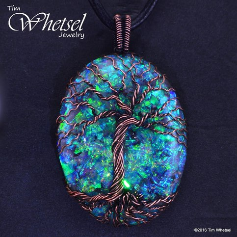 Copper Tree Of Life Pendant Frame Less Opalescent