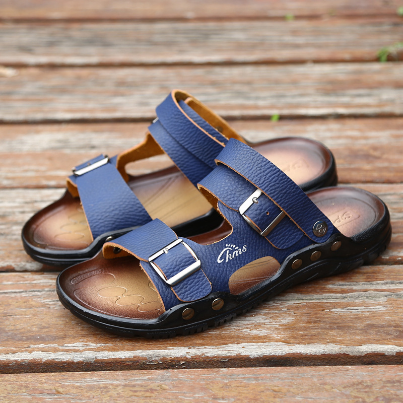 0f1027b6b4c4f Leather Sole Cheap Summer Sandals Plain Yellow Casual Men Slippers Sandals  on Storenvy
