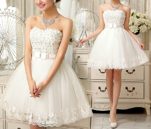 86a18c106da White sweetheart lace short prom dress