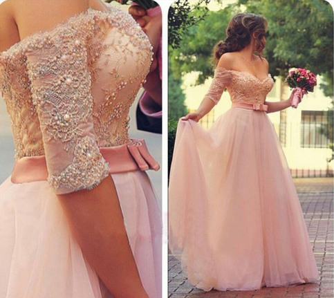 Pink Long Prom Dresses with Sleeves