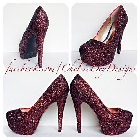Burgundy High Heels Dark Red Glitter Heels Maroon