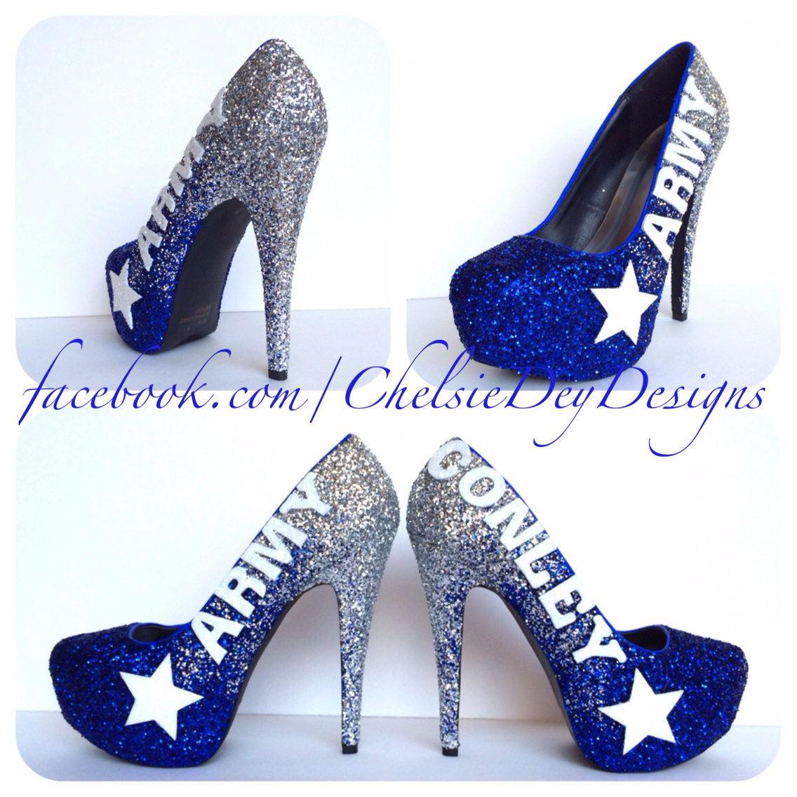 611a96a59604 Glitter High Heels - Ombre Army Pumps - Silver and Blue Platform Shoes -  Military Last