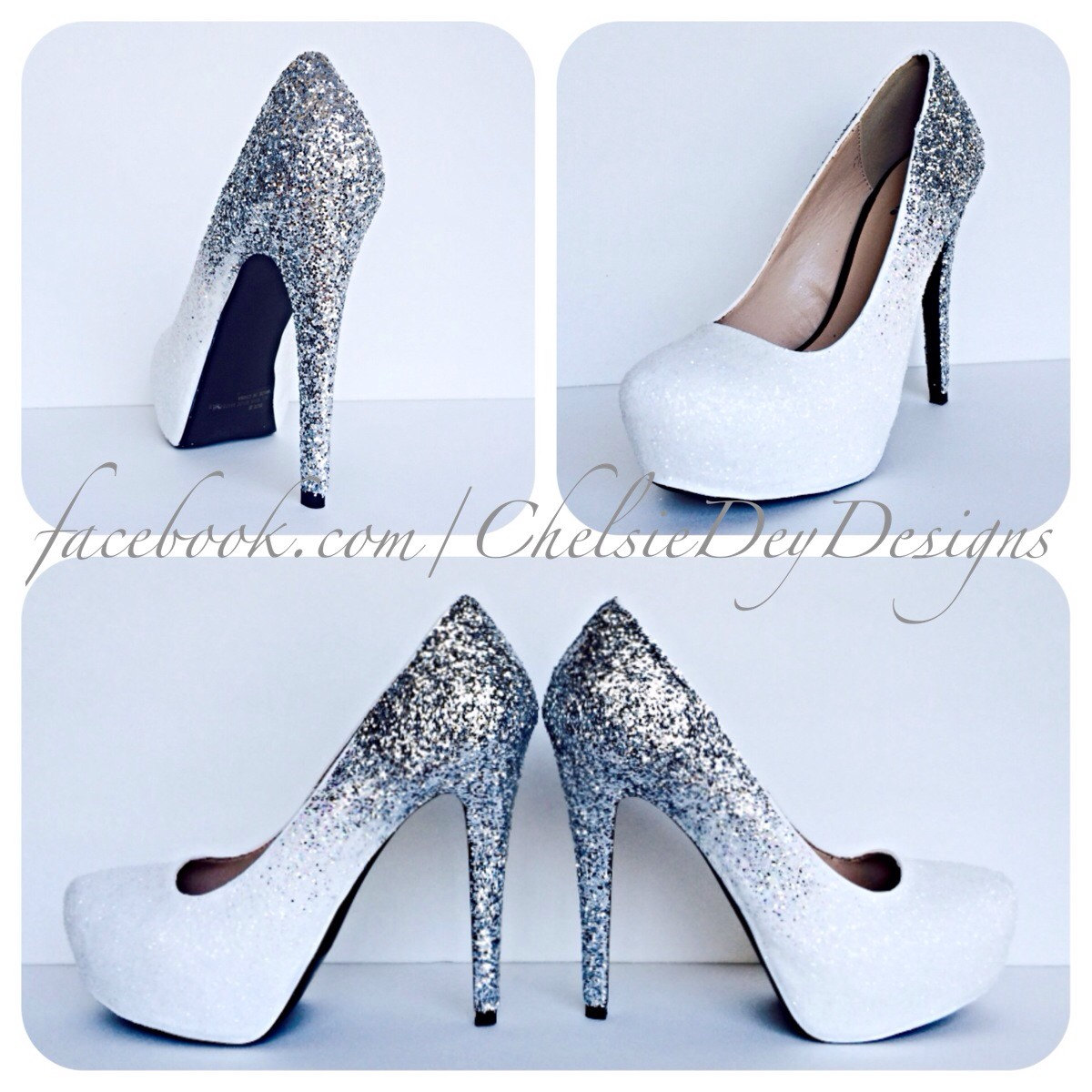 1fbbe01213a Silver Glitter High Heels - White Irridescent Ombre Pumps - Sparkly Wedding  Heels - Glitter Prom Shoes