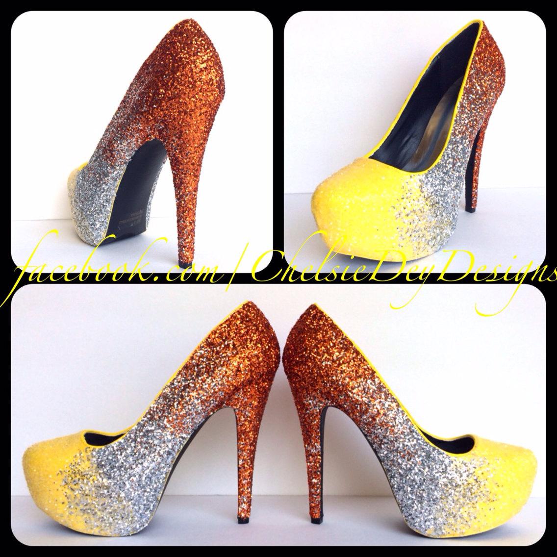 57c3c6ac5f633 Glitter High Heels - Orange Silver Yellow Pumps - Ombre Platform Prom Shoes  from Chelsie Dey Designs