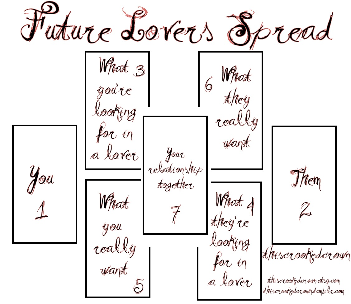 Future Lovers Spread - Determine a future relationship in a 7 tarot oracle  card reading by professional psychic from This Crooked Crown