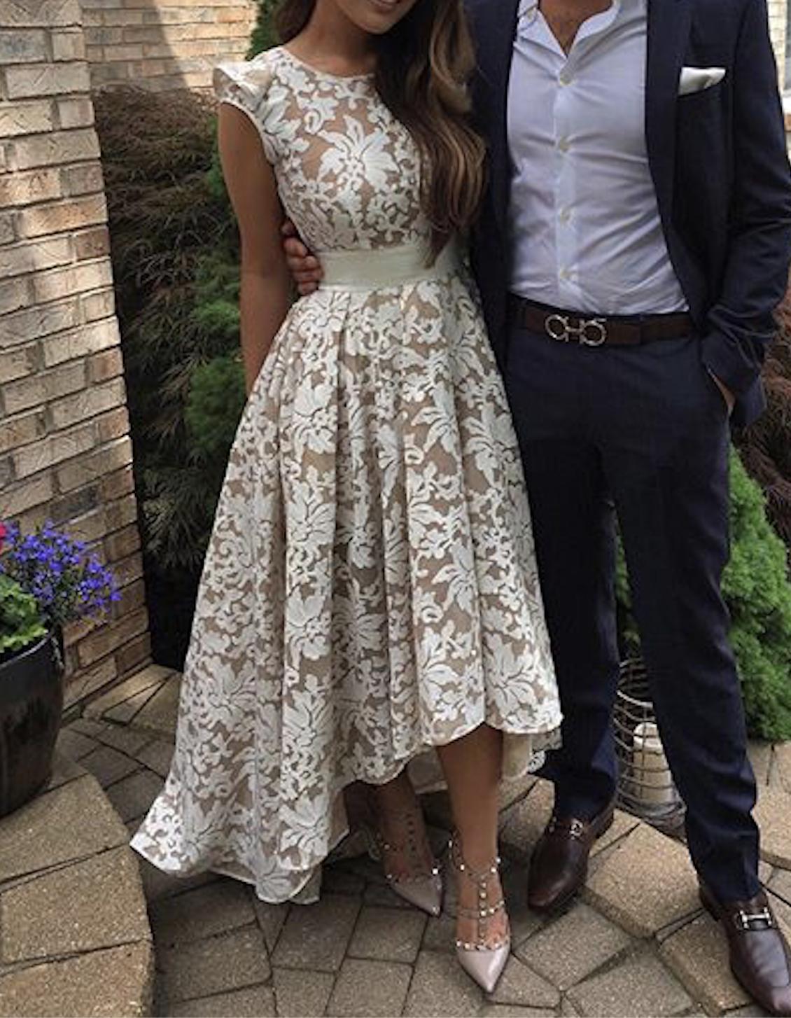 2925cfcb0e5 Custom made round neck lace prom dress