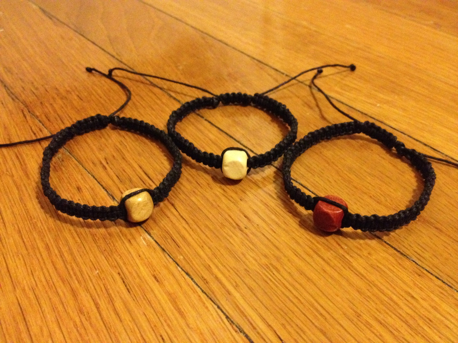 Set Of Black Waxed Hemp Cord Friendship Bracelets With Wood Cubes Beads The Jenifer Metal Shop Online Store Powered By Storenvy