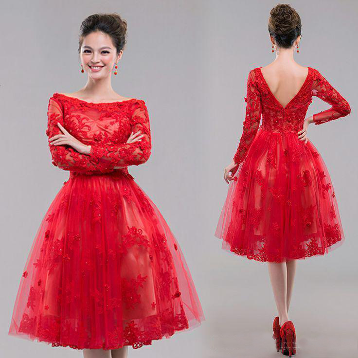 Short prom dress, red prom dress, long sleeve prom dress, lace prom ...