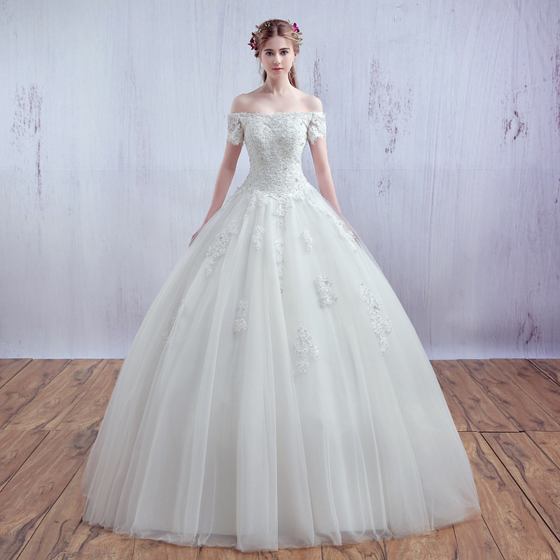 A20 2016 New The Bride Princess Married Elegant Simple Whtie Lace Short  Sleeves A-line e55a40b6c0ad