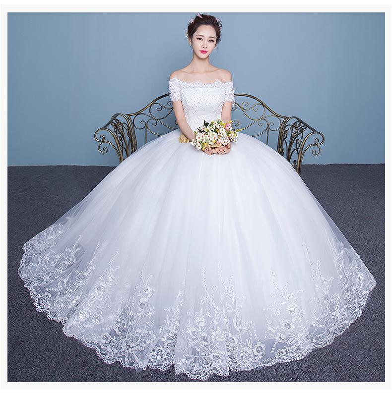 A22 2016 Fashion Bride White Lace Wedding Dress Short Sleeves Boat