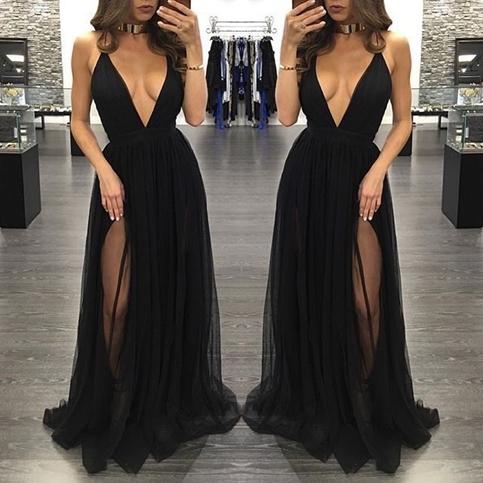 80cc3ce6c7b7 Black deep V-neck tulle long prom dresses