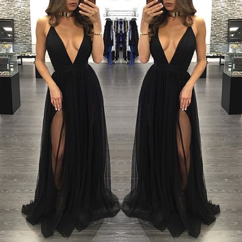 ce51dc79ab76 Black deep V-neck tulle long prom dresses