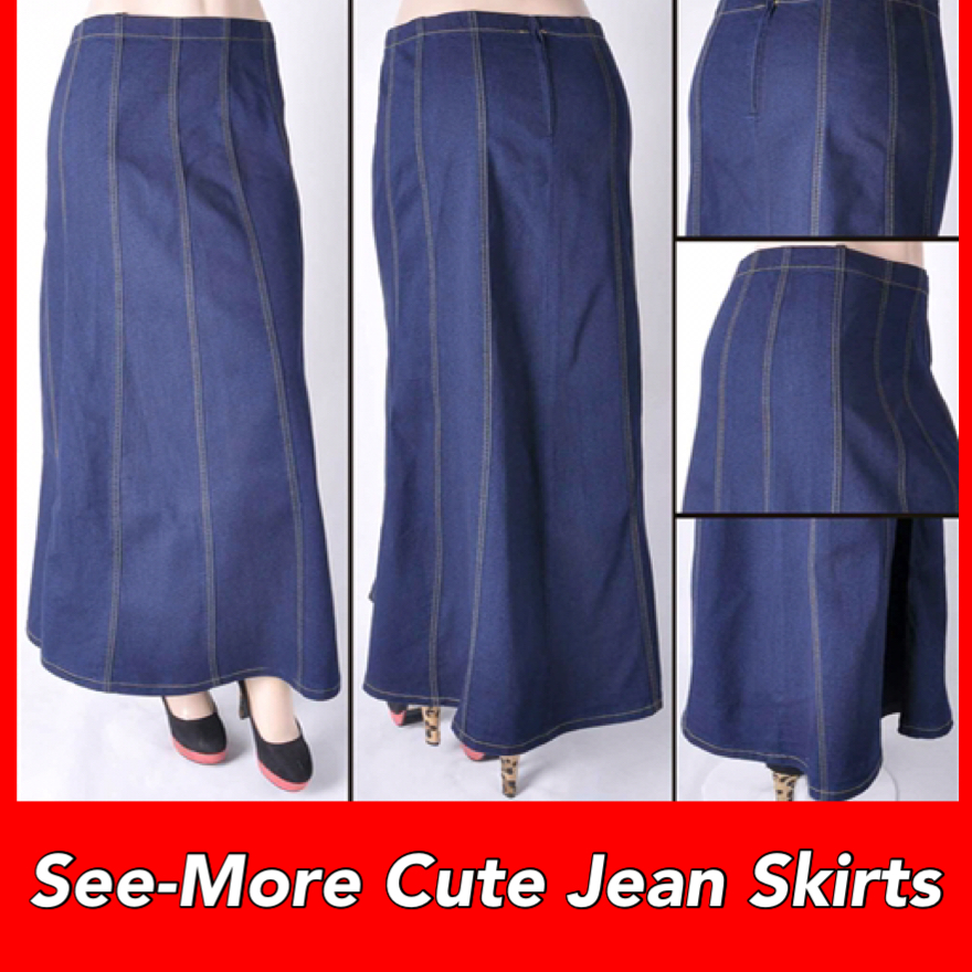 2e659968f4 GORED STYLE MODEST LONG JEAN SKIRT BLUE · See-More Jean Skirts ...