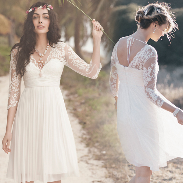 Knee Length Long Sleeve V Neckline Vintage Lace Bridesmaid Dress