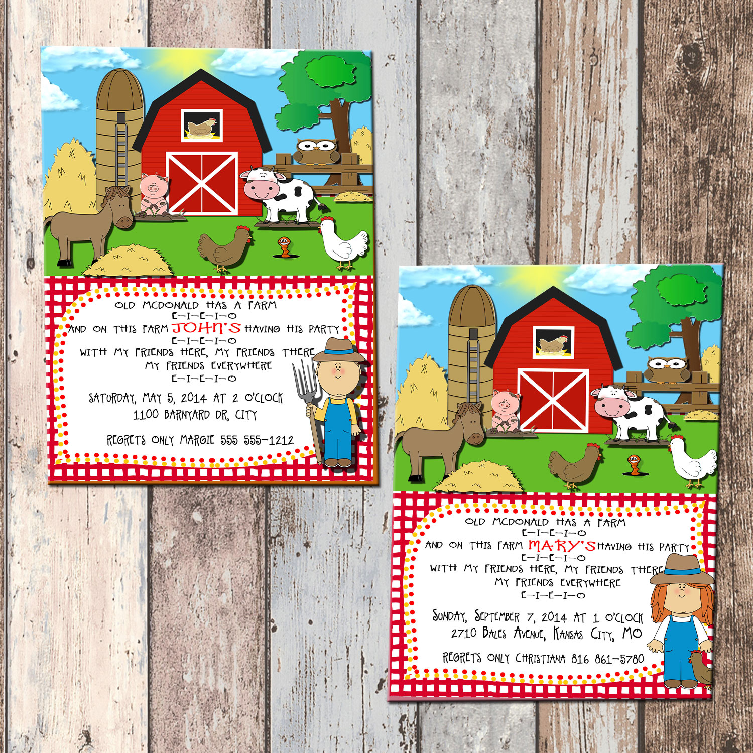 Old McDonald Farm Animals Personalized Birthday Invitation 1 Sided Card Party