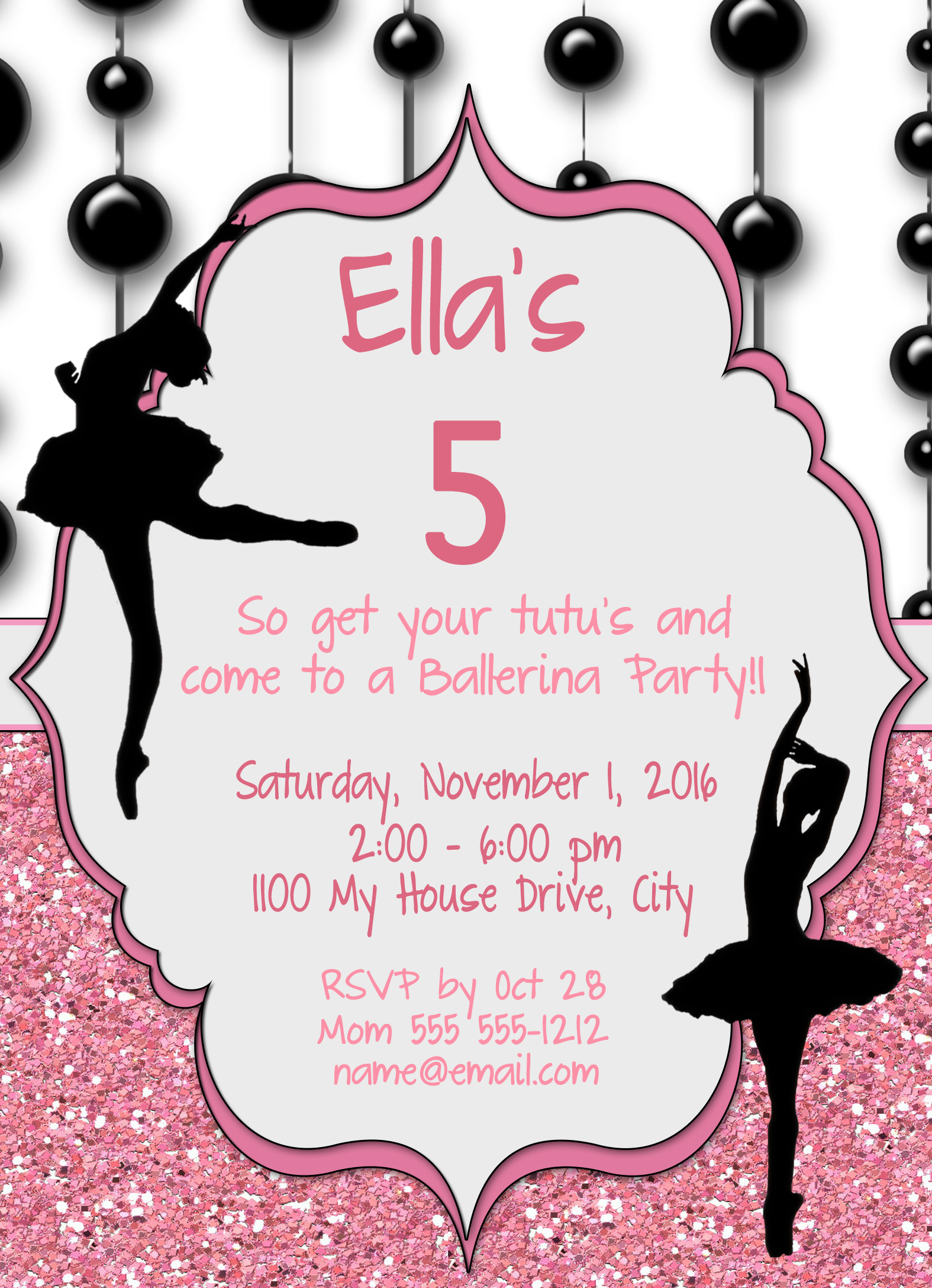 Ballerina Silohuette Personalized Birthday Invitation 2 Sided ...