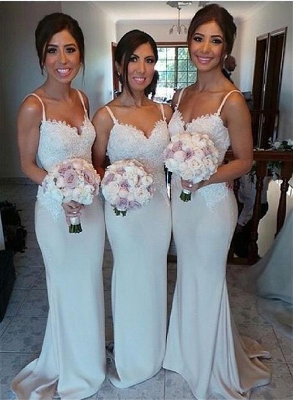 Long Lace Prom Dress,Spaghetti Straps Bridesmaid Dress, Mermaid ...