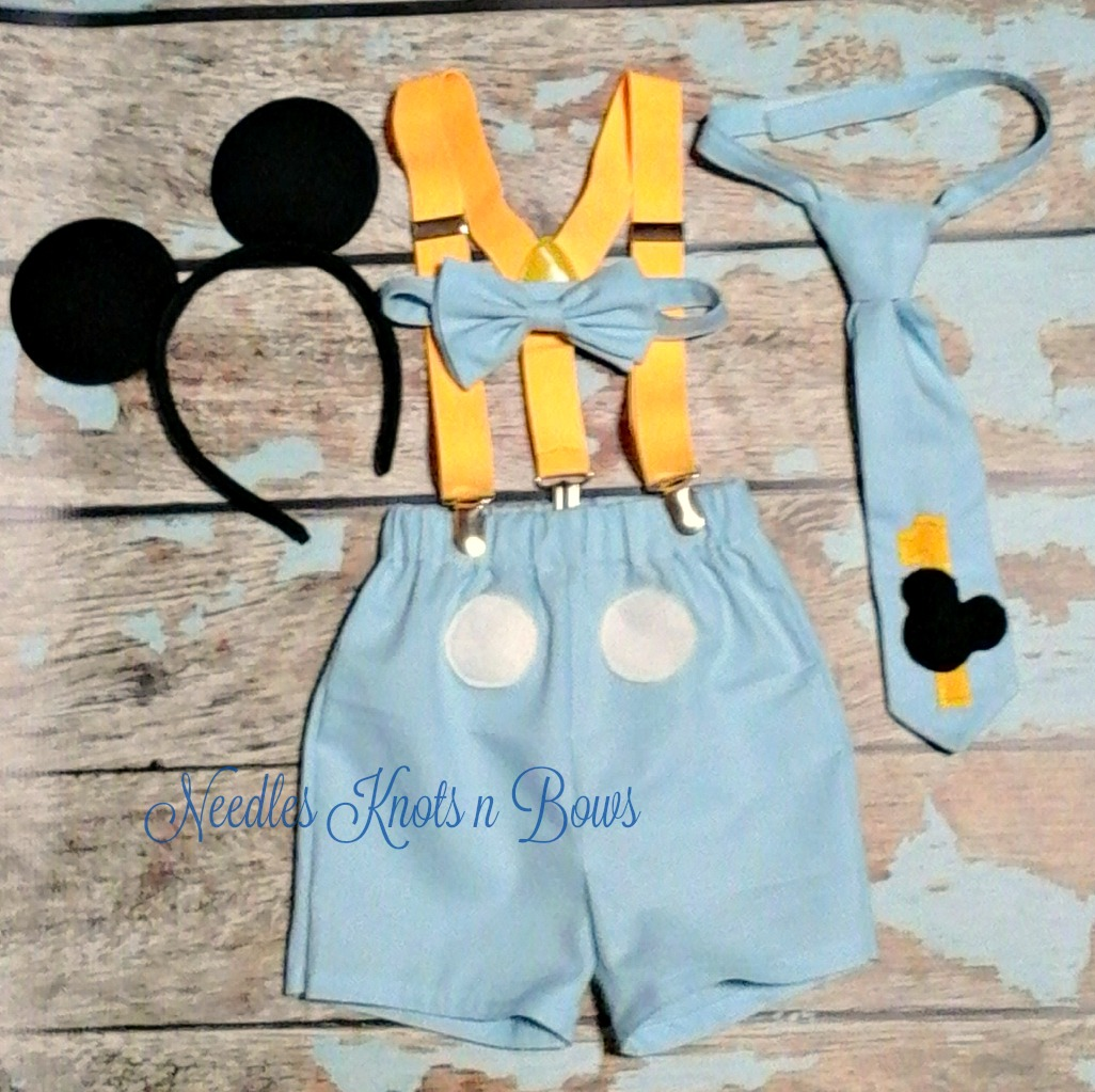 Boys Blue Mickey Mouse Cake Smash Set Light Outfit