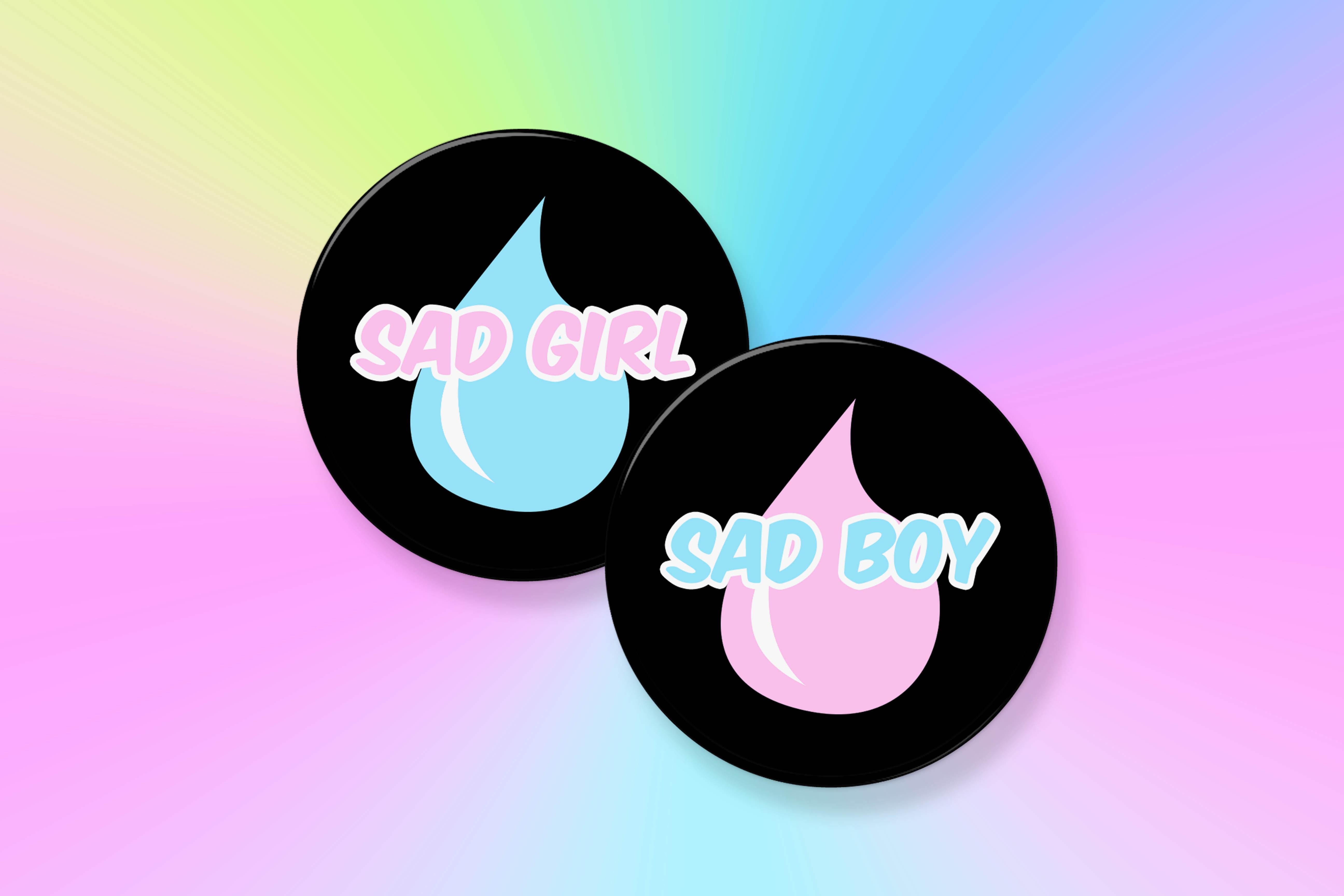aesthetic sad girl sad boy set 2 25 pinback button on storenvy